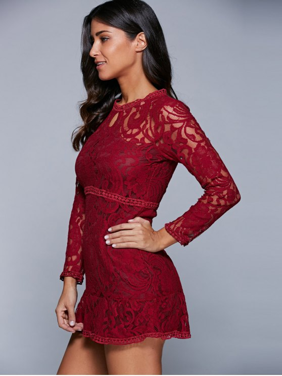A-Line See-Through Dress - WINE RED M Mobile