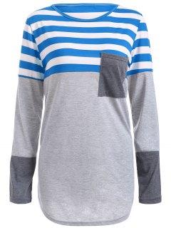 Striped Pocket Tunic T-Shirt - Blue M