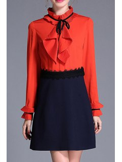 Long Sleeve A Line Popover Dress - Orange Red L