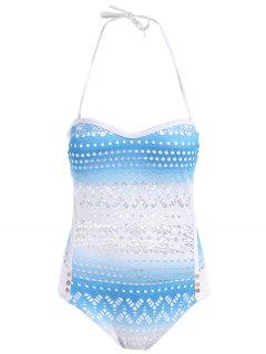 Cut Work One-Piece Swimsuit - Azure M