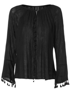 V Neck Flare Sleeve Fringe Blouse - Black M