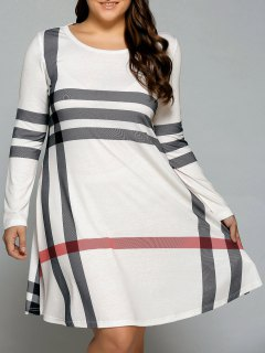 Vertical Plus Size Striped Tee Dress - Off-white Xl
