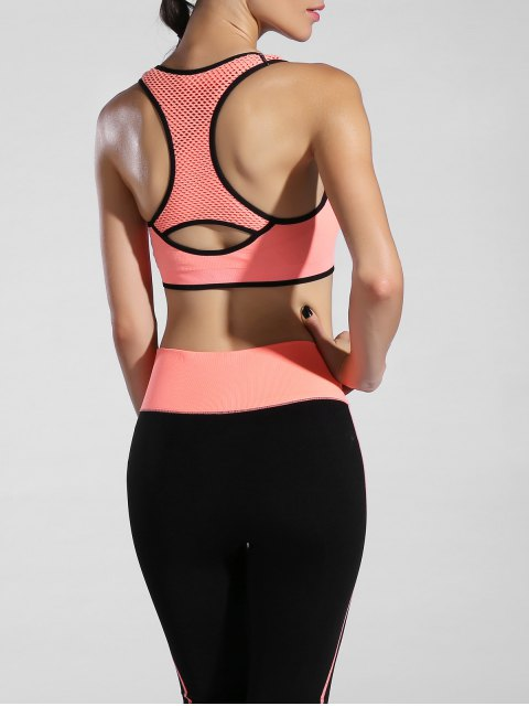 ladies Piped Pullover Sports Bra - ORANGEPINK L Mobile