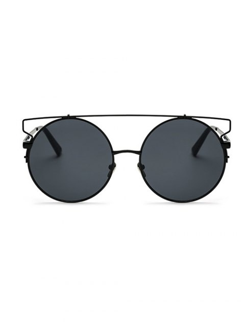 fashion Crossbar Round Sunglasses - BLACK  Mobile