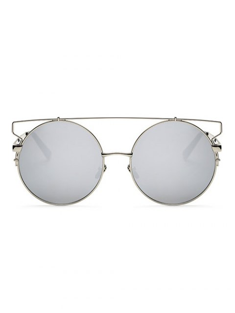 buy Crossbar Round Mirrored Sunglasses - SILVER  Mobile