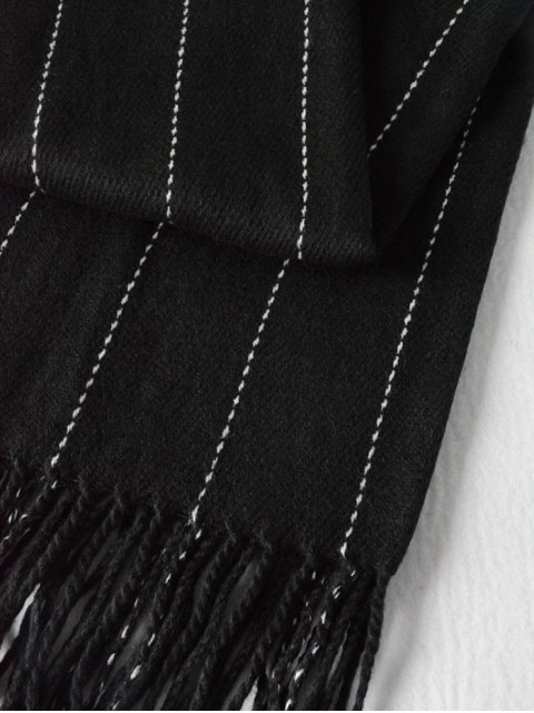 sale Fringe Stripe Scarf - BLACK  Mobile