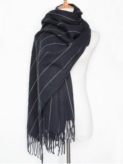 womens Fringe Stripe Scarf - PURPLISH BLUE  Mobile