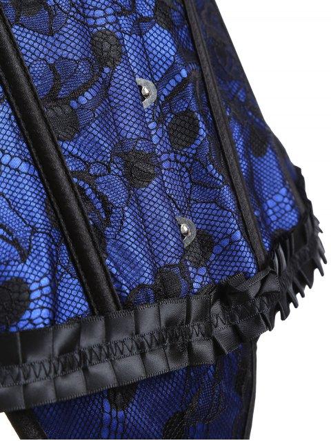 shops Steel Boned Sweetheart Neck Lace Corset - BLUE L Mobile
