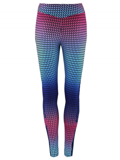 lady High Waist Print Skinny Gym Leggings - COLORMIX M Mobile