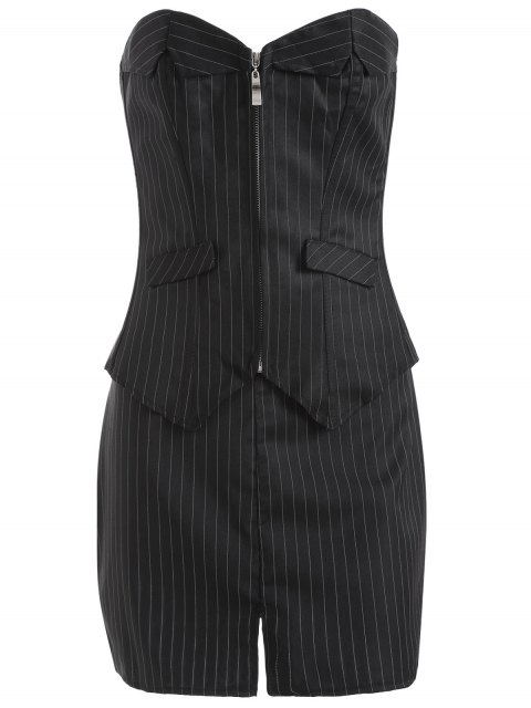 sale Striped Lace Up Three Piece Corset - BLACK 4XL Mobile