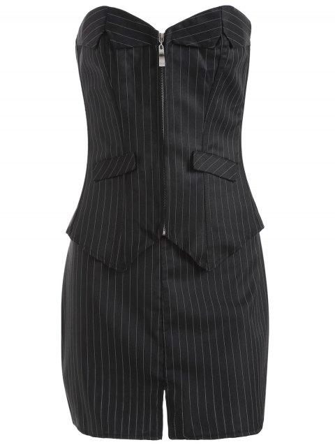 unique Striped Lace Up Three Piece Corset - BLACK 5XL Mobile