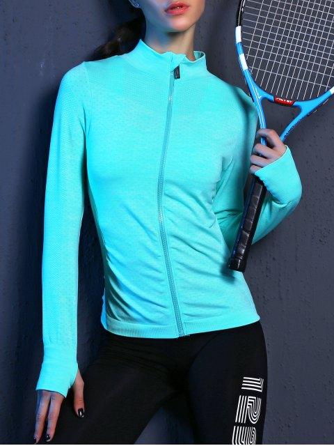 latest Glove Sleeve Breathable Sports Jacket - LAKE BLUE L Mobile