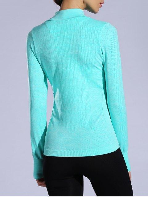 trendy Glove Sleeve Breathable Sports Jacket - LAKE BLUE M Mobile