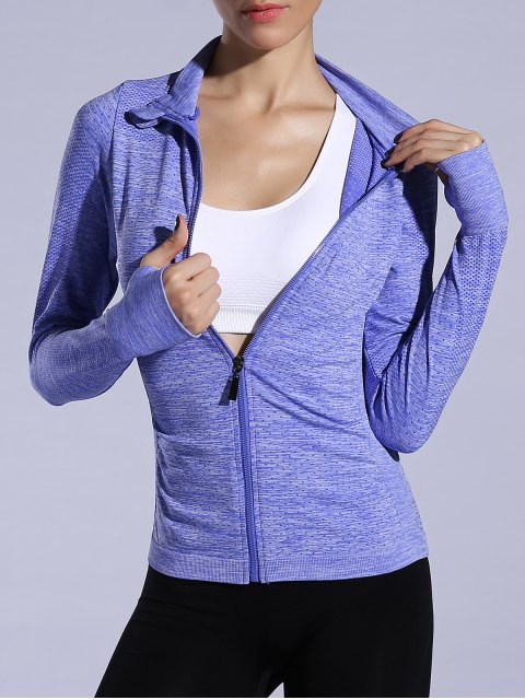 fashion Glove Sleeve Breathable Sports Jacket - BLUISH VIOLET L Mobile