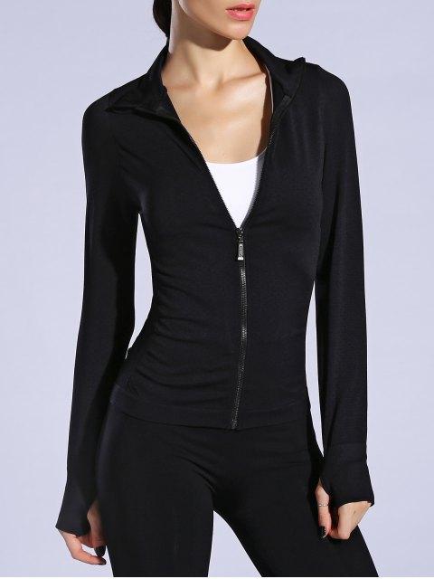 fancy Glove Sleeve Breathable Sports Jacket - BLACK L Mobile