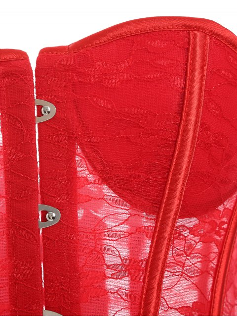 outfits Laciness Lace Up Corset - RED 2XL Mobile