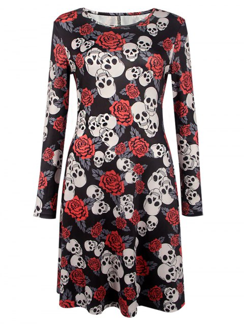 buy Halloween Skull Print Long Sleeve Dress - BLACK XL Mobile