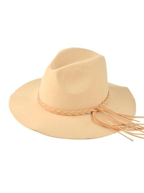 shop Floppy Braided Tassel Felt Hat - BEIGE  Mobile