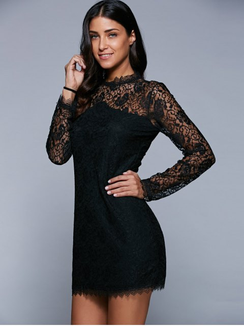 outfit Bodycon See-Through Dress - BLACK XL Mobile