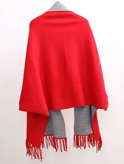Tassel Lapel Sleeved Cape Pashmina - RED  Mobile