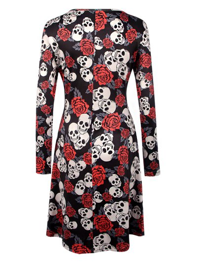 Halloween Skull Print Long Sleeve Dress - BLACK S Mobile