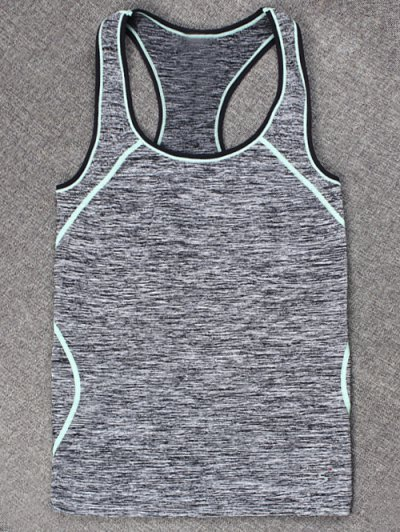 Slim Space-Dyed Contrast-Trim Sporty Tank Top - LIGHT BLUE L Mobile