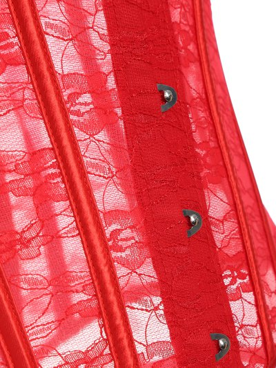 Laciness Lace Up Corset - RED 2XL Mobile