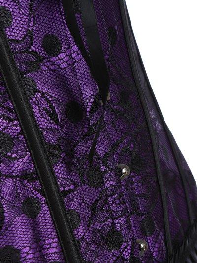 Steel Boned Sweetheart Neck Lace Corset - PURPLE L Mobile