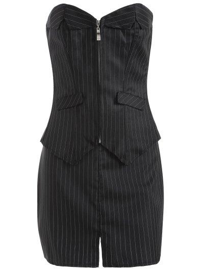 Striped Lace Up Three Piece Corset - BLACK 4XL Mobile