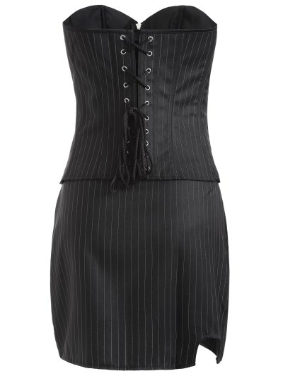 Striped Lace Up Three Piece Corset - BLACK L Mobile