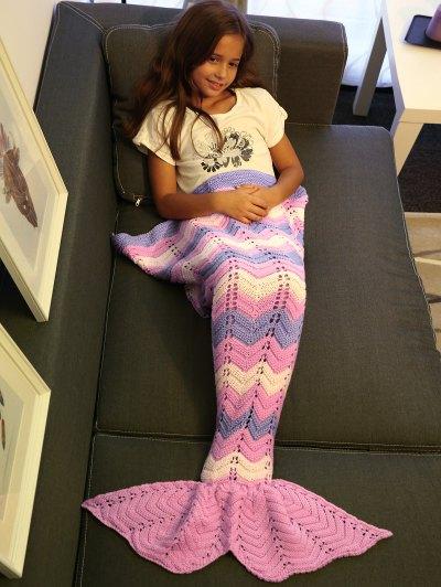 Knitting Openwork Mermaid Blanket - PINK  Mobile