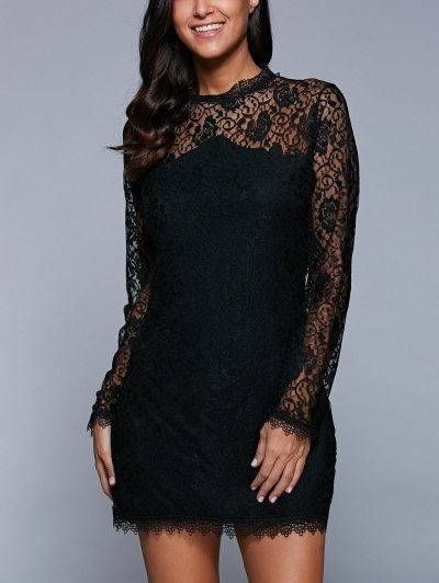 Bodycon See-Through Dress - Black