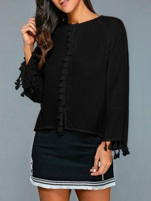 Long Sleeve Round Neck Fringes Blouse - Black