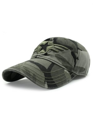 Star Badge Embroidery Camouflage Baseball Hat - Army Green