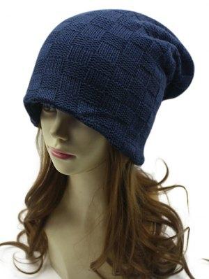 Plaid Weaving Double-Deck Knit Beanie - Cadetblue