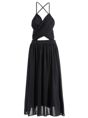 Backless A-Line Strappy Midi Dress - Black