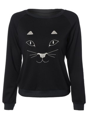 Kitten Embroidered Funny Sweatshirt - Black