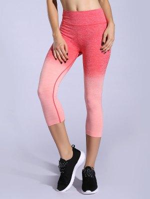 Ombre Color Capri Leggings - Orangepink