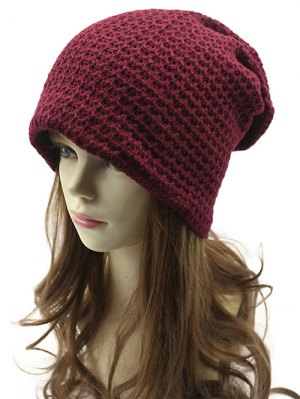 Openwork Weaving Double-Deck Knit Beanie - Wine Red