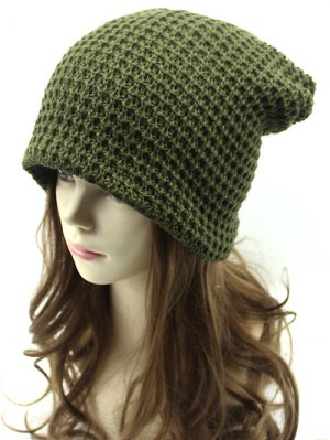Openwork Weaving Double-Deck Knit Beanie - Army Green