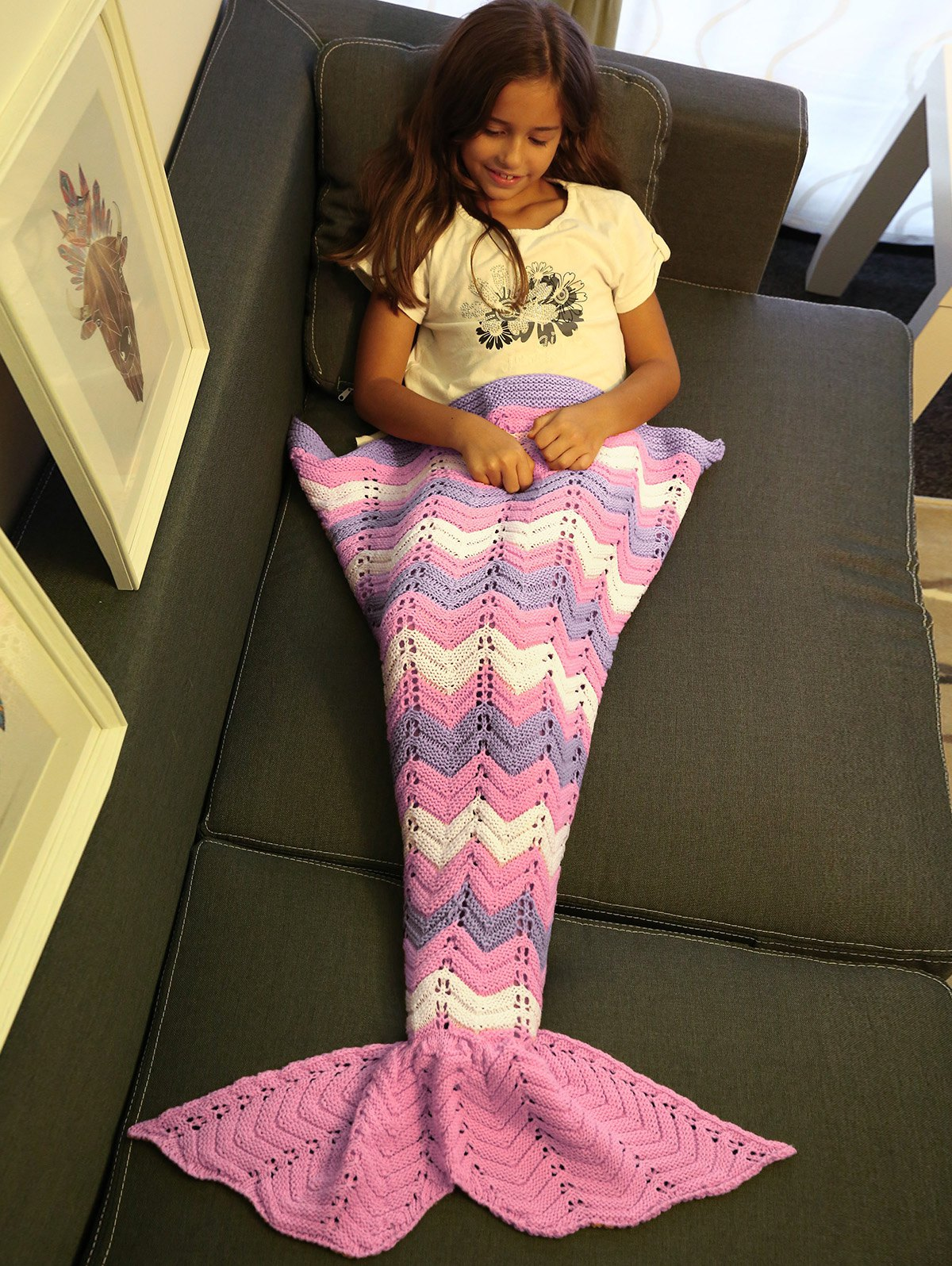 Knitting Openwork Color Block Mermaid Blanket