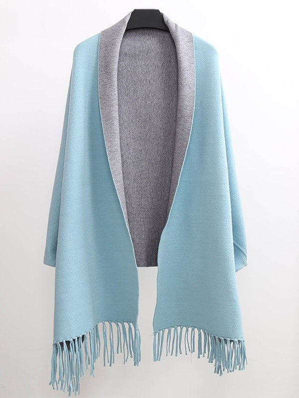 Lapel Sleeved Cape Pashmina