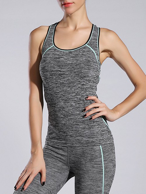 Space-Dyed Contrast-Trim Sporty Tank Top