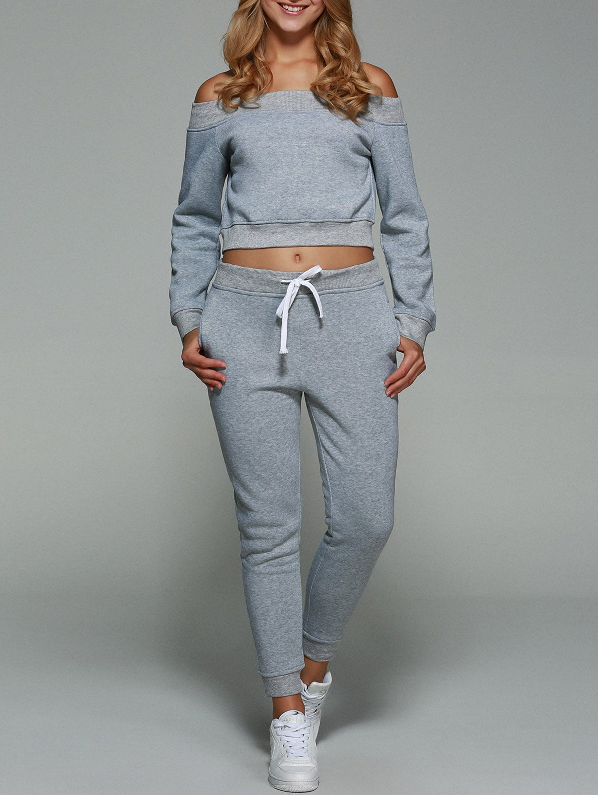 Off Shoulder Cropped Sweatshirt With Pants