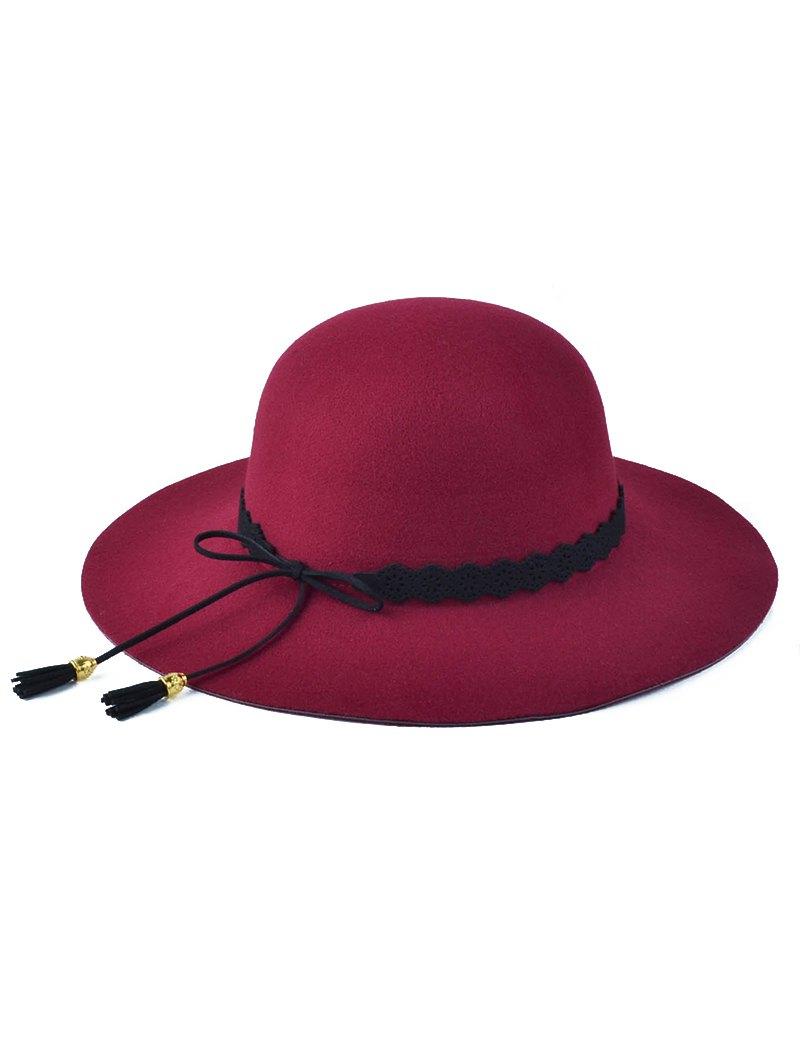 Floppy Bowknot Tassel Felt Hat