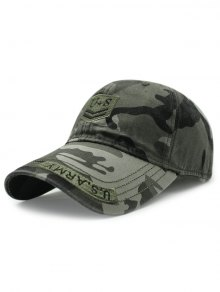 USA Shield Embroidery Camouflage Baseball Hat - Army Green