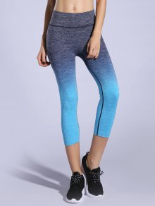 Ombre Color Capri Leggings - Lake Blue