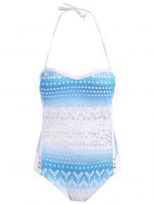 Cut Work One-Piece Swimsuit - Azure L