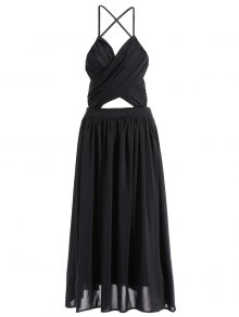 Backless A-Line Strappy Midi Dress - Black M