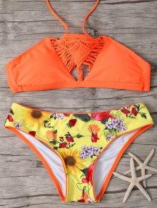 Printed Macrame Halter Bikini